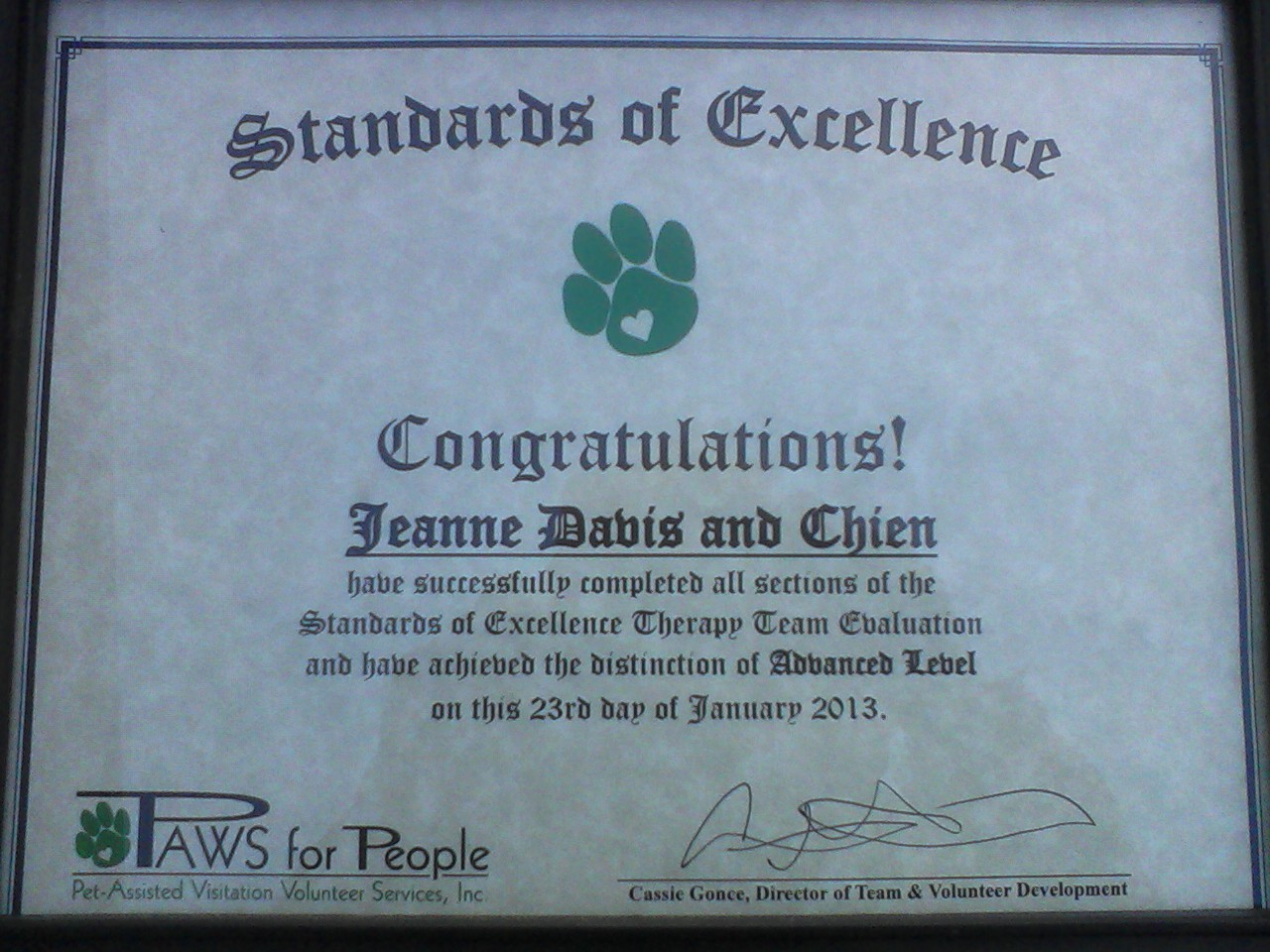 Chiens PAWS certificate